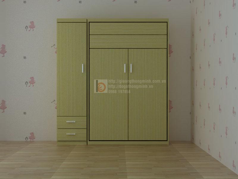 giường tủ thông minh làm bằng gỗ công nghiệp