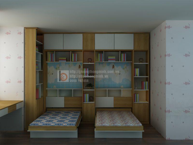 thiết kế giường gỗ gấp thông minh cho bé