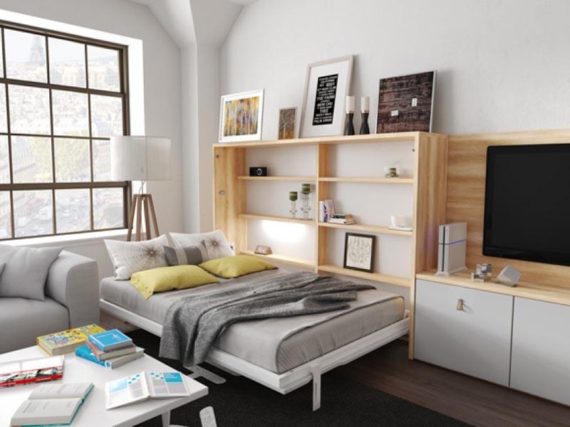 giường gỗ gấp thông minh kết hợp kệ tivi