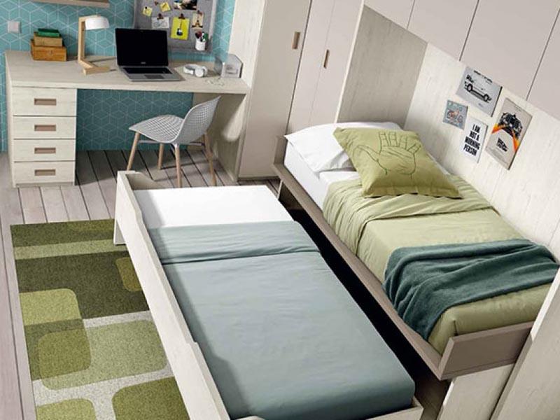 giường kéo kết hợp hệ tủ