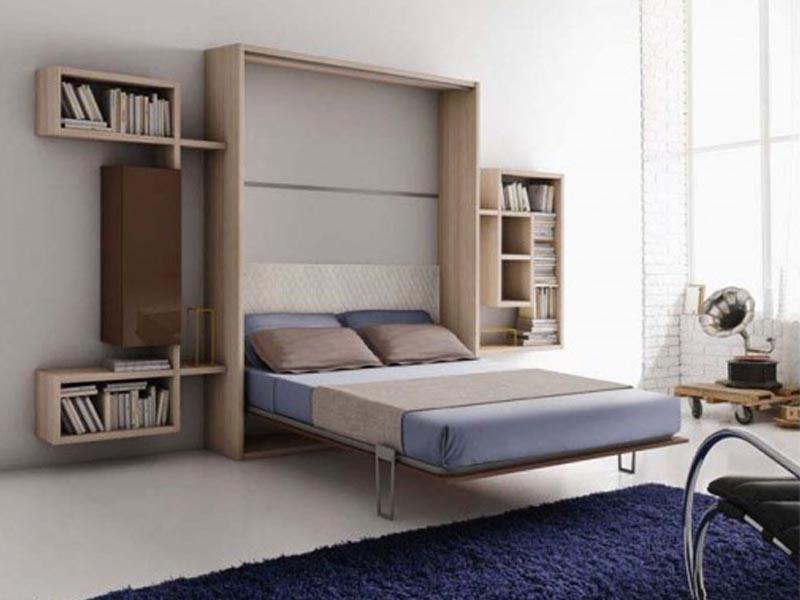 giường gỗ thông minh kết hợp giá sách