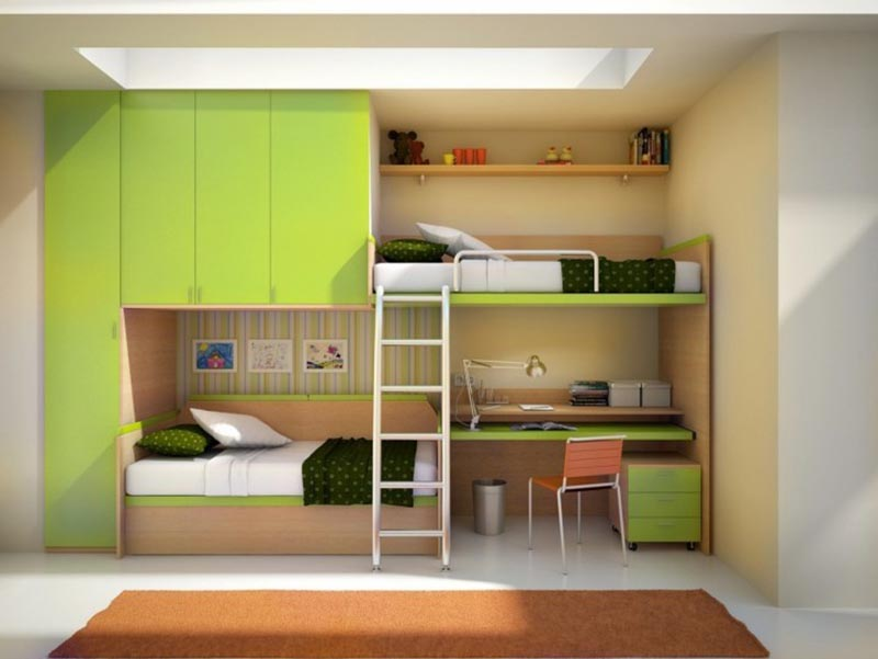 giường thông minh màu xanh lá