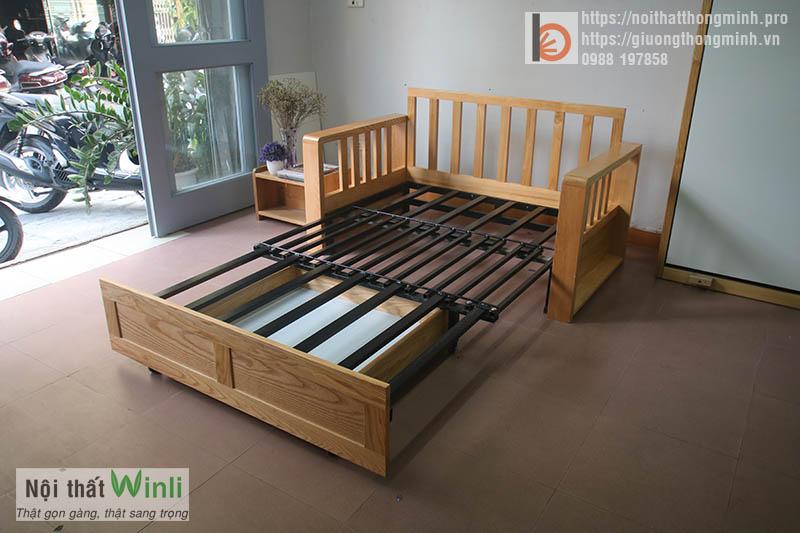 Sofa giường gỗ thông minh đơn nan sắt