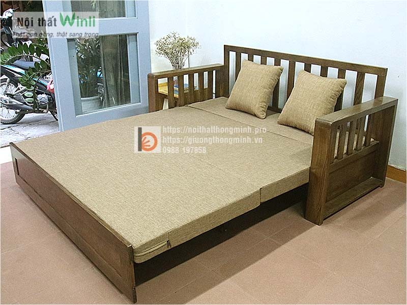 sofa giường gỗ thông minh màu óc chó