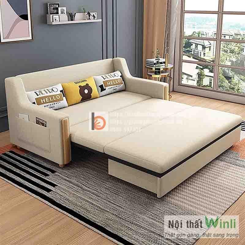 Sofa giường gỗ thông minh bọc nỉ-NGT